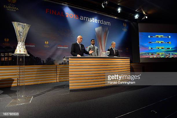 Gianni Infantino UEFA General Secretary Patrick Kluivert UEFA Europa League Final Ambassador and Giorgio Marchetti UEFA Competition Director comment...