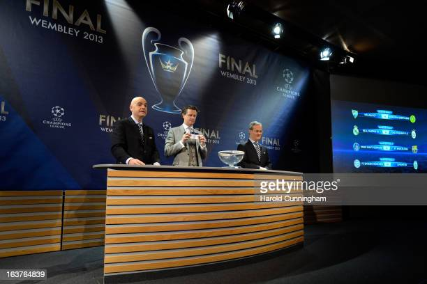 Gianni Infantino UEFA General Secretary Steve McManaman UEFA Champions League Final Ambassador and Giorgio Marchetti UEFA Competition Director draw...