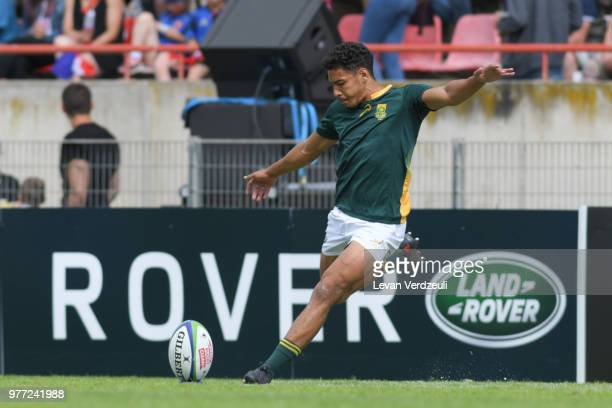 Gianni Lombard of South Africa kicks the conversion during World Rugby Under 20 Championship 3rd Place Play 0ff between South Africa and New Zealand...