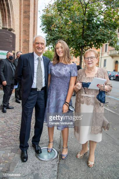 Gianni Mantovani, Alice Pavarotti and Gianna Mantovani attend Nicoletta Mantovani And Alberto Tinarelli Wedding at Sant Antonio da Padova Basilic on...