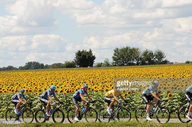 Gianni Meersman of Team Omega Pharma-Quickstep in the yellow jersey during Stage One of the Tour de l'Ain on August 10, 2013 from Lagnieu to...