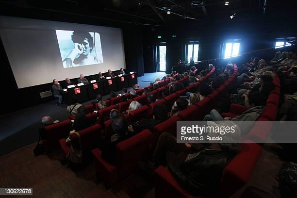Gianni Mina and Rosaria Troisi speak at the Libro Troisi press conference during the 6th International Rome Film Festival at Casa Del Cinema on...