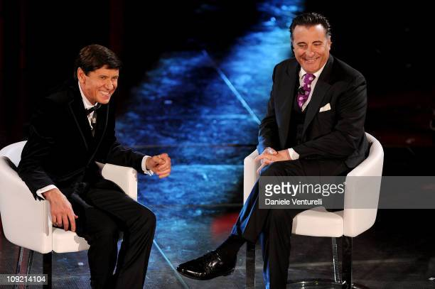Gianni Morandi and Andy Garcia attend the 61th Sanremo Song Festival at the Ariston Theatre on February 16, 2011 in San Remo, Italy.