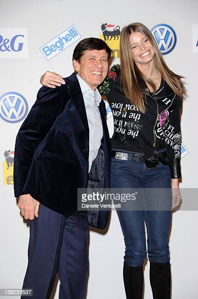 Gianni Morandi and Ivana Mrazova attend a photocall during the day 5 of the 62th Sanremo Song Festival 2012 on February 18 2012 in SANREMO Italy