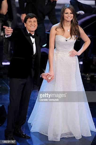 Gianni Morandi and Ivana Mrazova attend the closing night of the 62th Sanremo Song Festival at the Ariston Theatre on February 18 2012 in Sanremo...