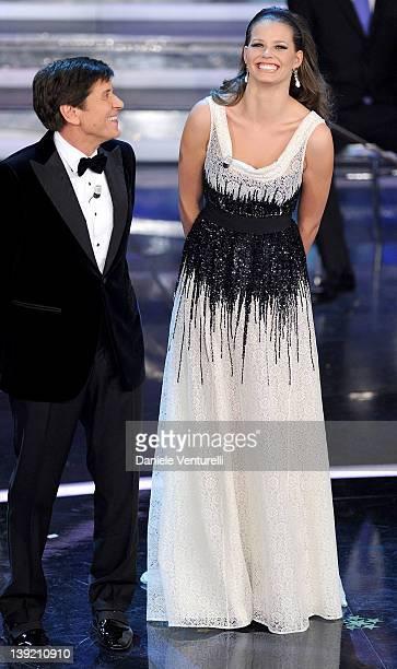 Gianni Morandi and Ivana Mrazova attend the fourth day of the 62th Sanremo Song Festival at the Ariston Theatre on February 17 2012 in SANREMO Italy