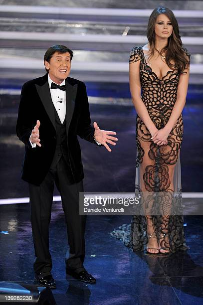 Gianni Morandi and Ivana Mrazova attend the fourth day of the 62th Sanremo Song Festival at the Ariston Theatre on February 17 2012 in San Remo Italy