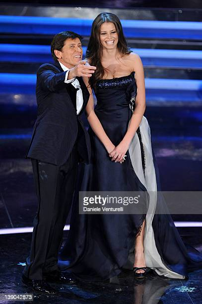 Gianni Morandi and Ivana Mrazova attend the second day of the 62th Sanremo Song Festival at the Ariston Theatre on February 15 2012 in San Remo Italy