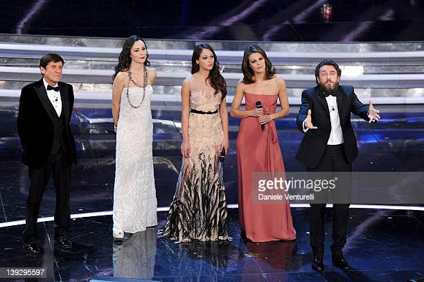 Gianni Morandi Caterina Misasi Dajana Roncione Bianca Guaccero and Alessio Boni attend the closing night of the 62th Sanremo Song Festival at the...