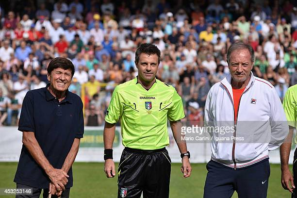Gianni Morandi honorary president of Bologna FC and international referee Nicola Rizzoli and Renzo Ulivieri ex coach of Bologna FC poses during the...