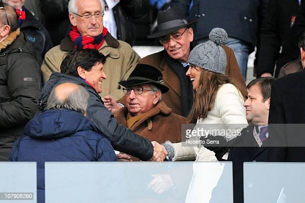 Gianni Morandi Honorary President of Bologna meets Anna Maria Bernini and Giorgio Bernini before the Serie A match between Bologna and Fiorentina at...