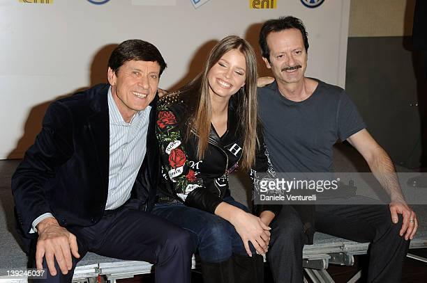 Gianni Morandi Ivana Mrazova and Rocco Papaleo attend a photocall during the day 5 of the 62th Sanremo Song Festival 2012 on February 18 2012 in...