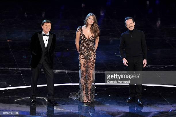 Gianni Morandi Ivana Mrazova and Rocco Papaleo attend the closing night of the 62th Sanremo Song Festival at the Ariston Theatre on February 18 2012...