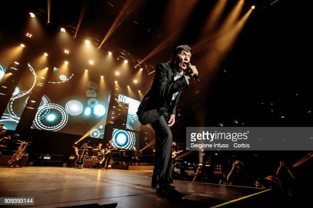 Gianni Morandi performs on stage at Mediolanum Forum of Assago on March 28, 2018 in Milan, Italy.