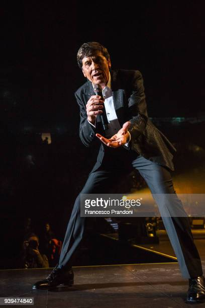 Gianni Morandi performs on stage at Mediolanum Forum on March 28, 2018 in Milan, Italy.