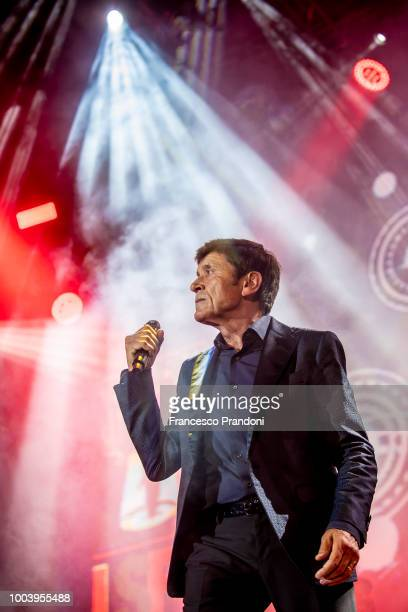 Gianni Morandi performs on stage during Lucca Summer Festival at Piazza Napoleone on July 22 2018 in Lucca Italy