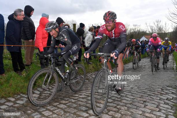 Gianni Moscon of Italy and Team INEOS / Ian Stannard of United Kingdom and Team INEOS / Molenberg / Cobblestones / Fans / Public / during the 75th...
