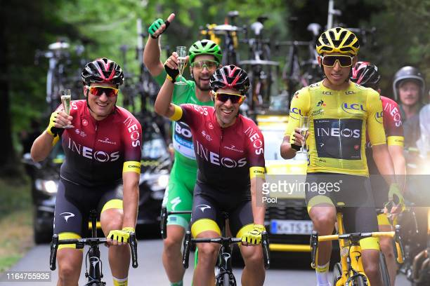 Gianni Moscon of Italy and Team INEOS / Jonathan Castroviejo of Spain and Team INEOS / Peter Sagan of Slovakia and Team BoraHansgrohe Green Sprint...
