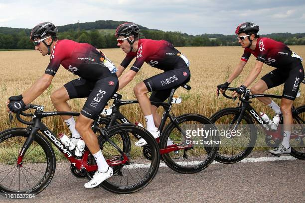 Gianni Moscon of Italy and Team INEOS / Luke Rowe of United Kingdom and Team INEOS / Geraint Thomas of United Kingdom and Team INEOS / during the...