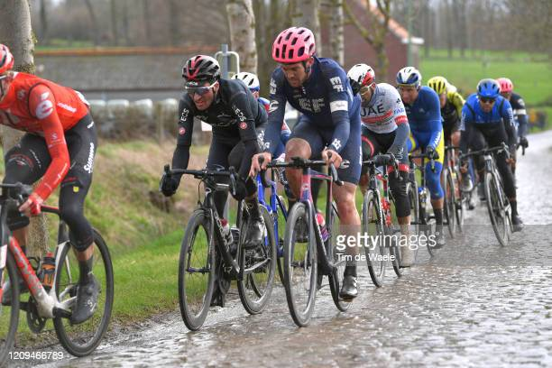 Gianni Moscon of Italy and Team INEOS / Thomas Scully of The New Zealand and Team EF Education First / Cobblestones / Mud / Rain / during the 75th...