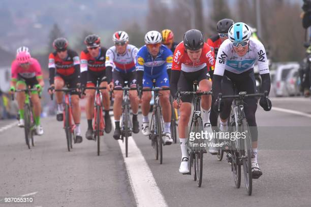 Gianni Moscon of Italy and Team Sky / Greg Van Avermaet of Belgium and Team BMC Racing Team / Tiesj Benoot of Belgium and Team Lotto Soudal /...