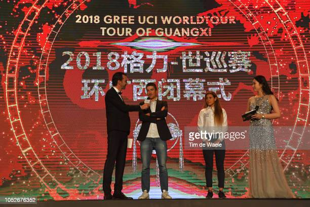 Gianni Moscon of Italy and Team Sky Overall winner of 2nd Tour of Guangxi 2018 and Arlenis Sierra of Cuba and Astana Women's Team 2nd Tour of Guangxi...