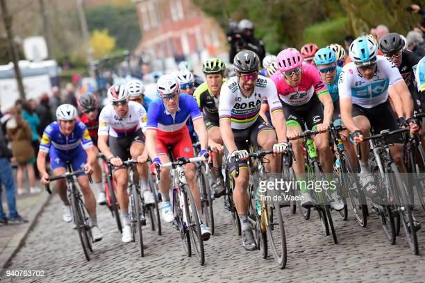 Gianni Moscon of Italy and Team Sky / Peter Sagan of Slovakia and Team Bora Hansgrohe / Arnaud Demare of France and Team Groupama FDJ / Zdenek Stybar...