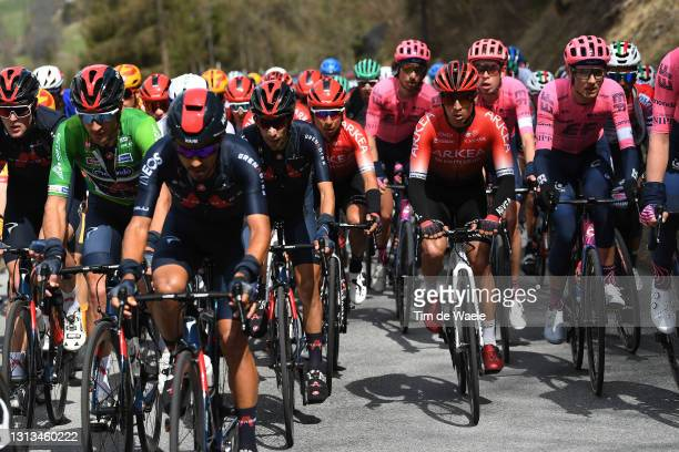 Gianni Moscon of Italy Green Leader Jersey, Ivan Ramiro Sosa Cuervo of Colombia and Team INEOS Grenadiers, Dayer Uberney Quintana Rojas of Colombia...