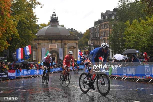Gianni Moscon of Italy / Mads Pedersen of Denmark / Stefan Kung of Switzerland / Harrogate City / Fans / Public / Peloton / Rain / during the 92nd...