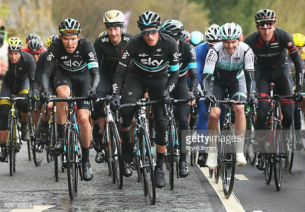Gianni Moscon of Team Sky and Italy climbs Sutton Bank during the third stage of the 2016 Tour de Yorkshire between Middlesbrough and Scarborough on...