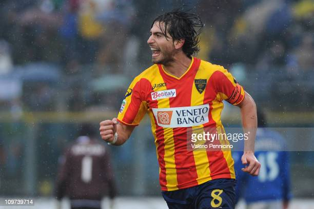Gianni Munari of Lecce celebrates a goal during the Serie A match between Brescia Calcio and Lecce at Mario Rigamonti Stadium on February 27, 2011 in...
