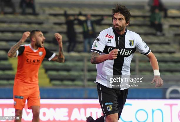 Gianni Munari of Parma Calcio celebrates after scoring his team third goal during the Serie B match between Parma Calcio and Ascoli Picchio at Stadio...