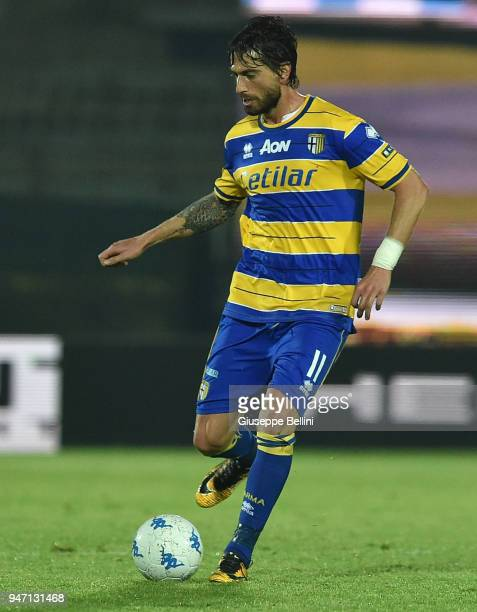Gianni Munari of Parma Calcio in action during the match between Ascoli Picchio and Parma Calcio at Stadio Cino e Lillo Del Duca on April 16 2018 in...
