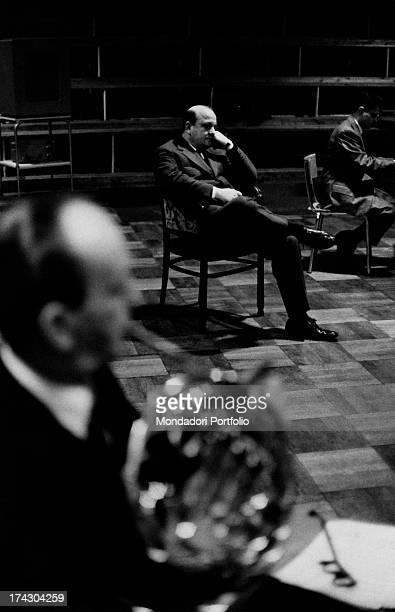 Gianni Ravera the organiser of the 1967 Sanremo Festival is sitting next to the singer Carmen Villani at Sanremo for the first time and the composer...