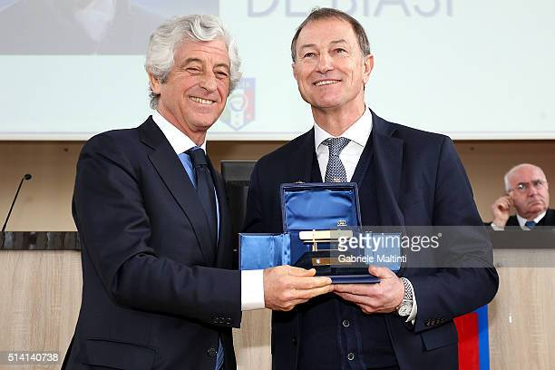 Gianni Rivera president of the Youth and School FIGC during the Panchina D'oro season 20142015 Gianni De Biasi manager of Albania won the gold coach...