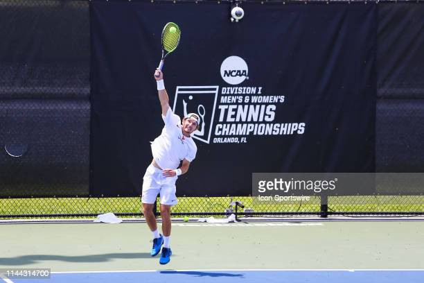 Gianni Ross of the University of Virginia serves during the semifinal round of the NCAA Division I Tennis National Championships on May 16 at the...