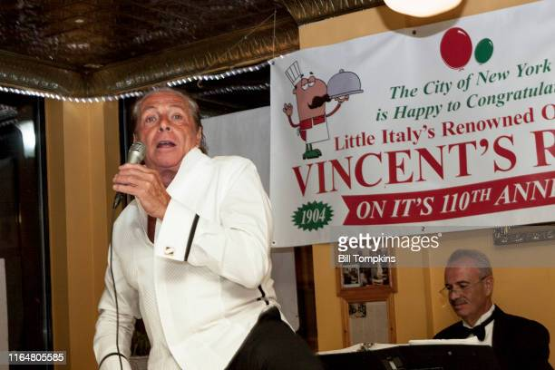 Gianni Russo who played 'Carlo' in the film THE GODFATHER performs at Vincents Restaurant in Little Italynon September 14th 2014 in New York City