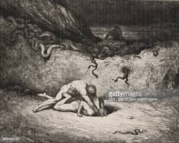Gianni Schicchi in the grip of madness amongst the Falsifiers of Others' Persons Bolgia 10 of the eighth circle engraving by Gustave Dore Canto XXX...