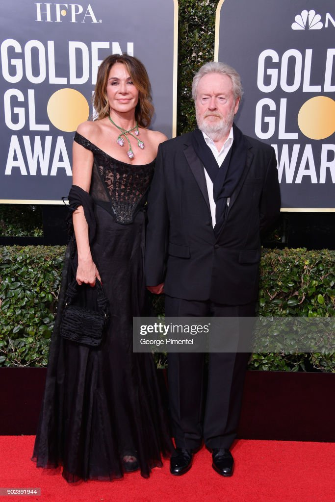 Giannina Facio and producer/director Ridley Scott attend The 75th Annual Golden Globe Awards at The Beverly Hilton Hotel on January 7, 2018 in Beverly Hills, California.