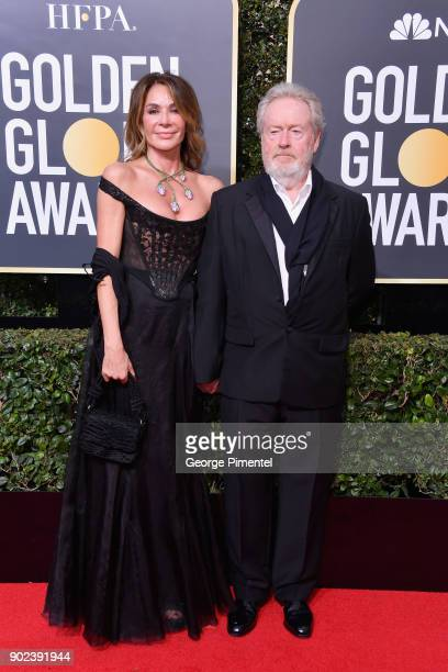 Giannina Facio and producer/director Ridley Scott attend The 75th Annual Golden Globe Awards at The Beverly Hilton Hotel on January 7, 2018 in...