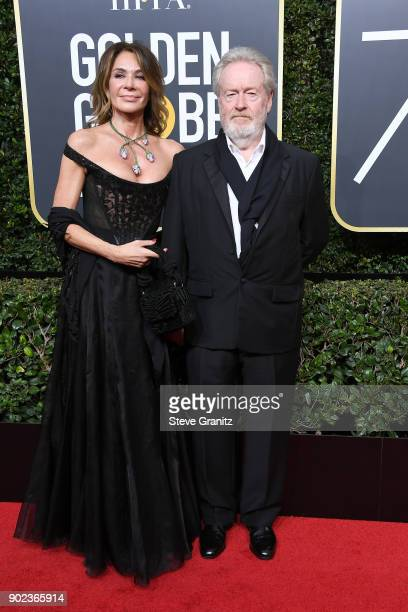 Giannina Facio and Ridley Scott attend The 75th Annual Golden Globe Awards at The Beverly Hilton Hotel on January 7, 2018 in Beverly Hills,...