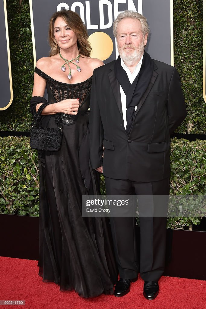 Giannina Facio and Ridley Scott attend the 75th Annual Golden Globe Awards - Arrivals at The Beverly Hilton Hotel on January 7, 2018 in Beverly Hills, California.