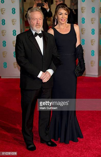Giannina Facio and Ridley Scott attend the EE British Academy Film Awards at The Royal Opera House on February 14, 2016 in London, England.
