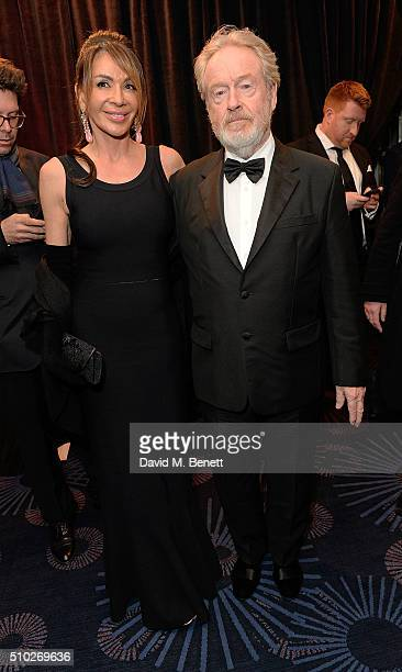 Giannina Facio and Ridley Scott attend the official After Party Dinner for the EE British Academy Film Awards at The Grosvenor House Hotel on...