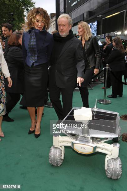 Giannina Facio and Sir Ridley Scott arrive in an Audi at the Alien Covenant Premiere at Leicester Square on May 4, 2017 in London, England.