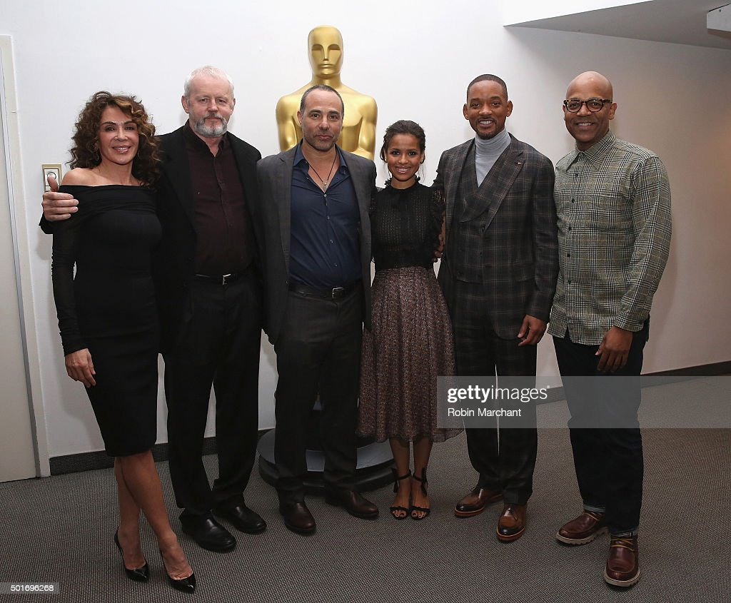 Giannina Facio, David Morse, Peter Landesman, Gugu Mbatha-Raw, Will Smith and Patrick Harrison, Director of NY Programs and Membership Academy of Motion Picture Arts and Sciences attend The Academy Of Motion Picture Arts And Sciences Hosts An Official Academy Screening Of CONCUSSION on December 16, 2015 in New York City.