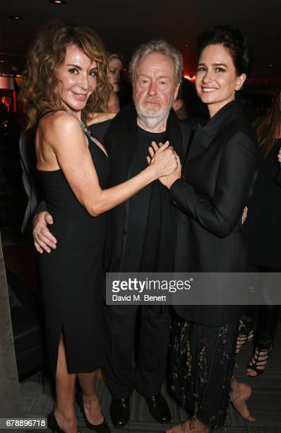 Giannina Facio Sir Ridley Scott and Katherine Waterston attend the World Premiere after party of Alien Covenant at Quaglino's on May 4 2017 in London...