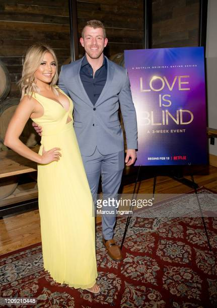 Giannina Gibelli and Damian Powers attend the Netflix's Love is Blind VIP viewing party at City Winery on February 27 2020 in Atlanta Georgia