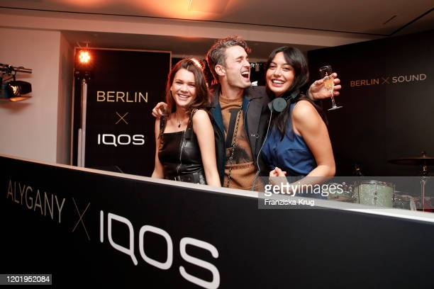 Giannina Haupt Simon Lohmeyer and Alyssa Cordes during the IQOS Store opening on February 19 2020 in Berlin Germany