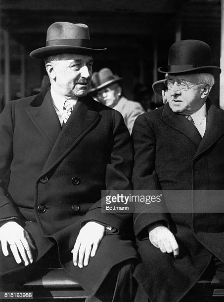 Giannini at the left, banking genius of two continents, with P.C. Hale on their arrival in San Francisco from New York, where Mr. Giannini recently...